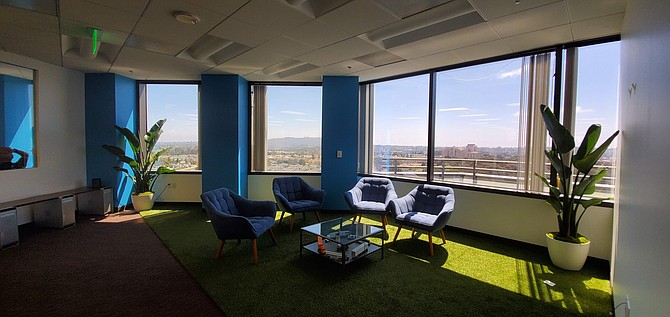 A meeting space at Platform Science's new offices provides a sweeping view of UTC. The company moved in early July to provide more room for its growing workforce. Photo courtesy of Platform Science.