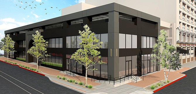 A vacant C Street annex to the US Grant hotel is being transformed into a mixed-use project with retail space on the ground floor and offices on the second. Rendering courtesy of Hurkes Harris Design Associates.