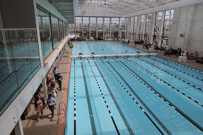 The new Plunge swimming pool at Belmont Park reopened over the holiday weekend after a $12 million renovation. Photo courtesy of Pacifica Enterprises.