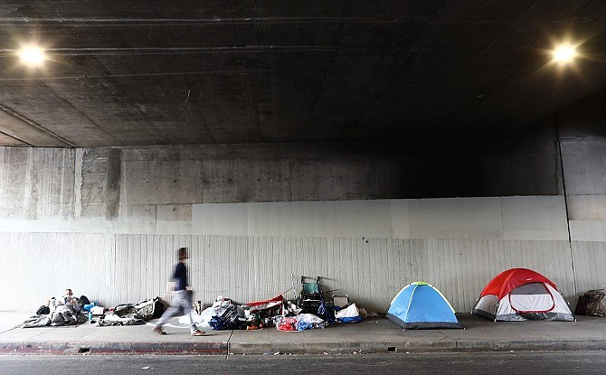 A homeless encampment beneath an overpass in Los Angeles.