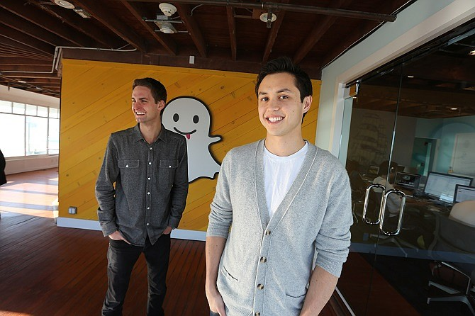 (From left) Snap Inc. co-Founders Evan Spiegel and Bobby Murphy.