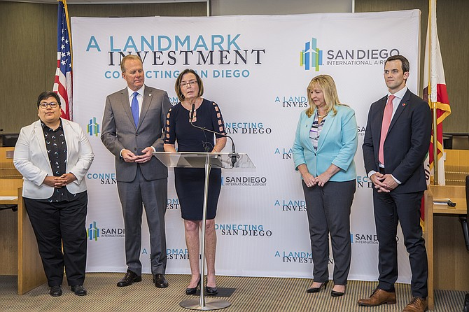 Mayor Kevin Faulconer and San Diego County Regional Airport Authority Board Chair April Boling discuss mass-transit options for the airport after the Navy indicated its willingness to open its land for the right project. Photo courtesy of San Diego International Airport.