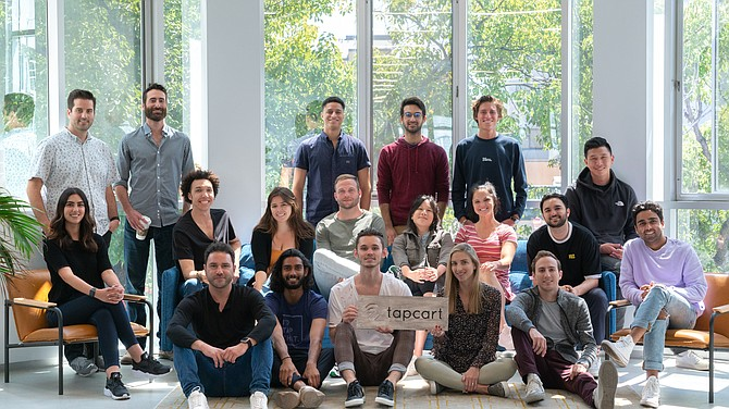 The Tapcart team at their new office.