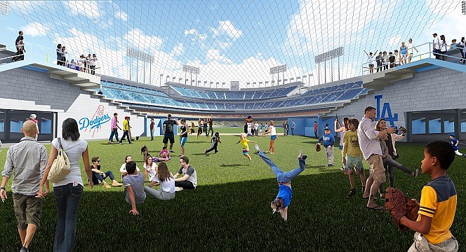 A rendering of planned renovations to Dodger Stadium.