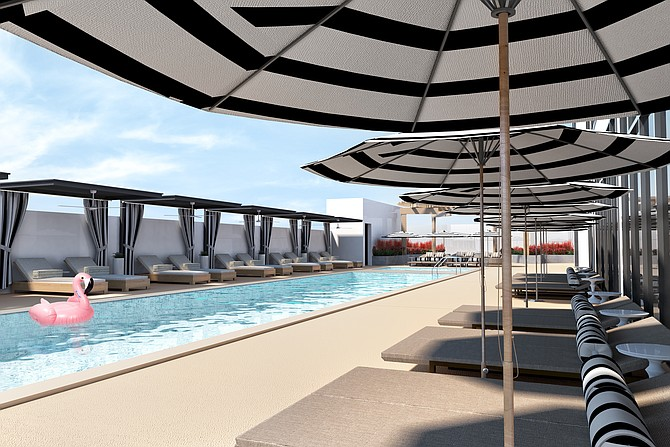 A pool deck in the Carte Hotel was designed with a nod to the koi pond and Botanical Building in Balboa Park. Rendering courtesy of the Carte Hotel.