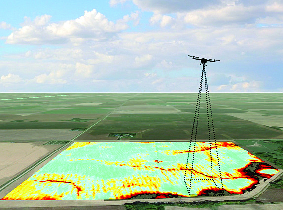 SlantRange designs sensors and software that can be attached to drones to gather information about crops. Photo courtesy of SlantRange.