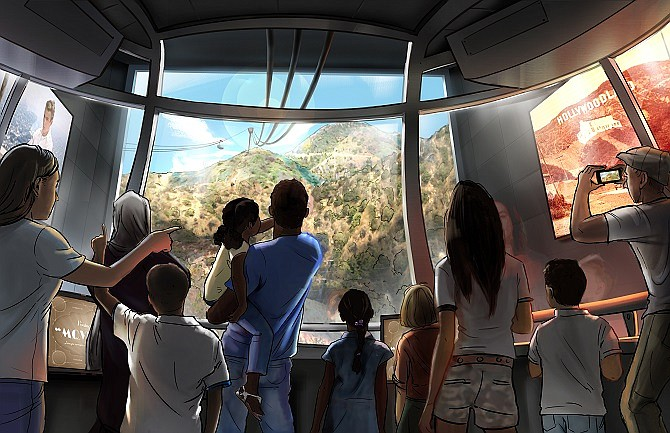 A rendering of Warner Bros. Hollywood Skyway Tram.