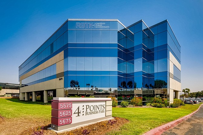 Office projects like this Kearny Mesa business park are expected to remain strong investments. Photo courtesy of CBRE.