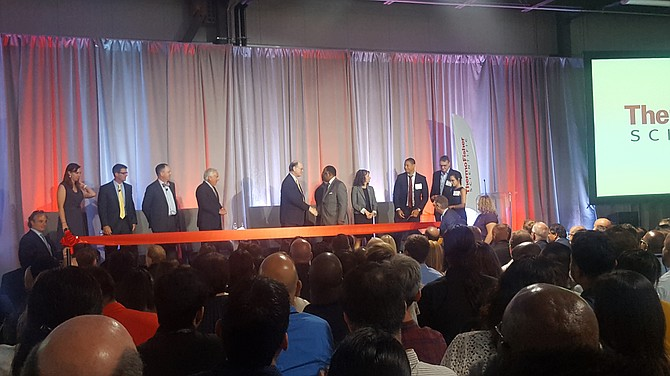 Executives and dignitaries at Thermo Fisher Scientific opening in West Hills.
