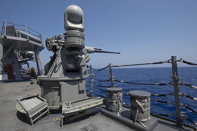 A Mark 38 Mod 3 machine gun on the USS Carney, an Arleigh Burke-class destroyer. Photo by Stephen Jones courtesy of BAE Systems.