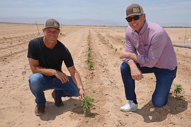Field of Dreams: Graham Farrar (left) and Scott Slater at Cadiz's land in the Mojave Desert.