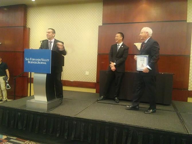 From left: Jeff Neumeister, Neumeister and Associates; Robin Choi, Wells Fargo; Charles Crumpley, San Fernando Valley Business Journal.