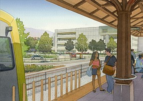 Rendering of Pomona Station for Foothill Gold Line Extension