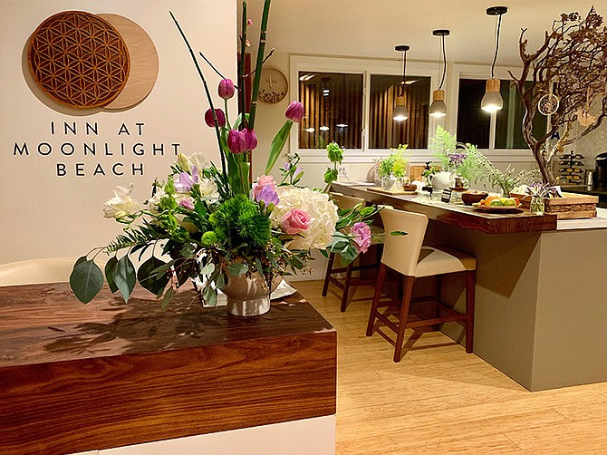 The Inn at Moonlight Beach is located on a biodynamic urban farm with medicinal herbs, cut flowers and succulents and vegetables, fruits and teas that guests have access to.