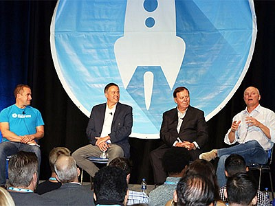 From left: Silicon Valley Bank Managing Director Eric Otterson, Seismic CEO Doug Winter, Kyriba CEO Jean-Luc Robert, Tealium CEO Jeff Lunsford participate in a panel.