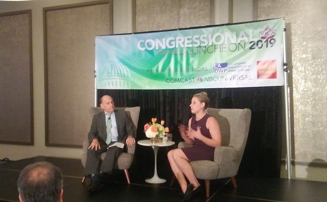 NBCUniversal's Steve Nissen interviews Congresswoman Katie Hill in North Hollywood.