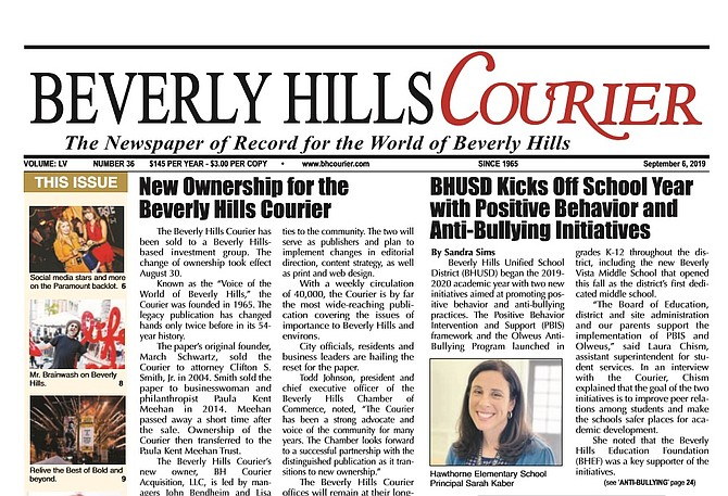 Front page of the Beverly Hills Courier.