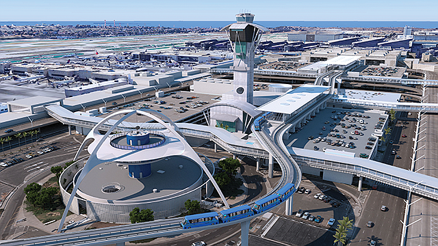 Team Work: Contractors will help create a transit hub to feed into LAX's people mover.