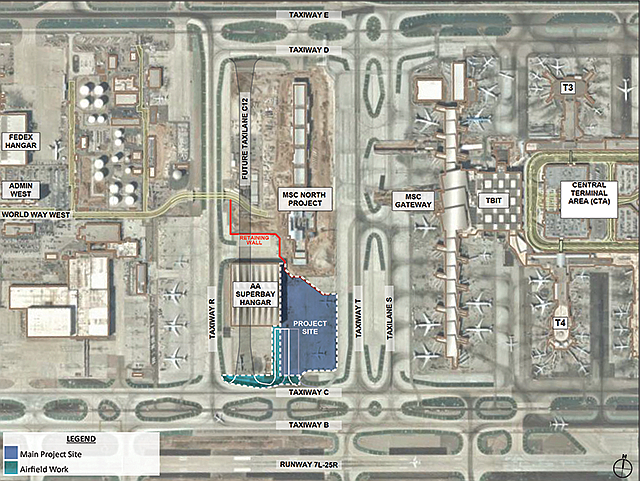 Fly Over: Plans show the southern portion of the Midfield Satellite Concourse (center in blue) at LAX that will be designed by Woods Bagot.