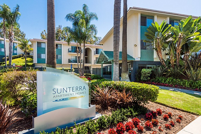 Sunterra Apartments sale in Oceanside is indicative of a tight apartment market. Photo courtesy of CBRE.