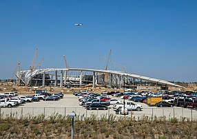 Flying High: Construction is 75% complete on the Inglewood project.