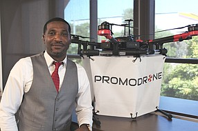 Jamar Williams started PromoDrone in 2016. The company, which makes drones that display banner advertisements, was accepted into new startup incubator, Connect All at the Jacobs Center. Photo by Elise Reuter.