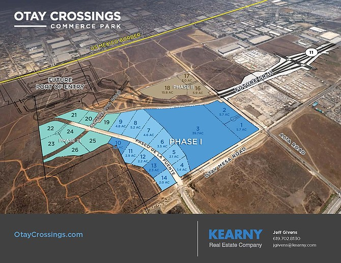 Final site work is underway on the first phase of a 311-acre industrial park in Otay Mesa. Photo courtesy of Kearny Real Estate Company.