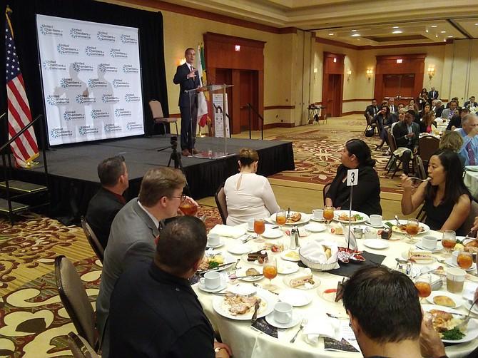 Mayor Eric Garcetti speaks at the Richard Leyner Mayor's Luncheon.