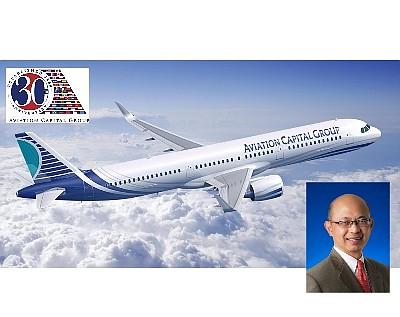 Aviation Capital Group logo, plane, CEO Tranh