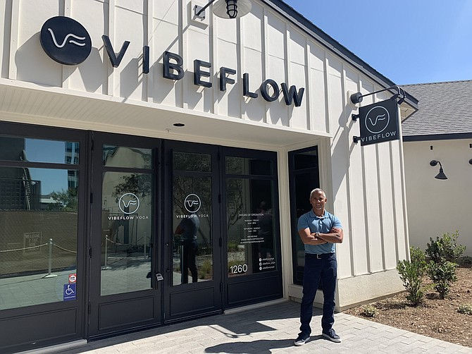 Billy Borja opened VibeFlow Yoga at One Paseo in Carmel Valley over the summer. Photo courtesy of VibeFlow Yoga.