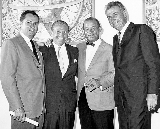 The Handoff: Barron Hilton, Samuel Schulman, Sid Gillman and Eugene Klein announce the sale of the San Diego Chargers in 1969.