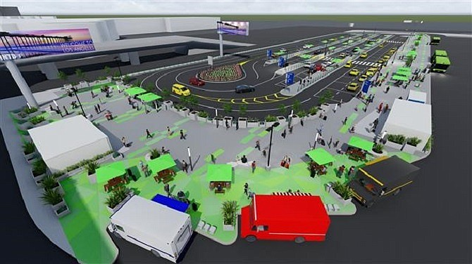 Rendering of LAX-it ride hail pickup lot opening Oct. 29
