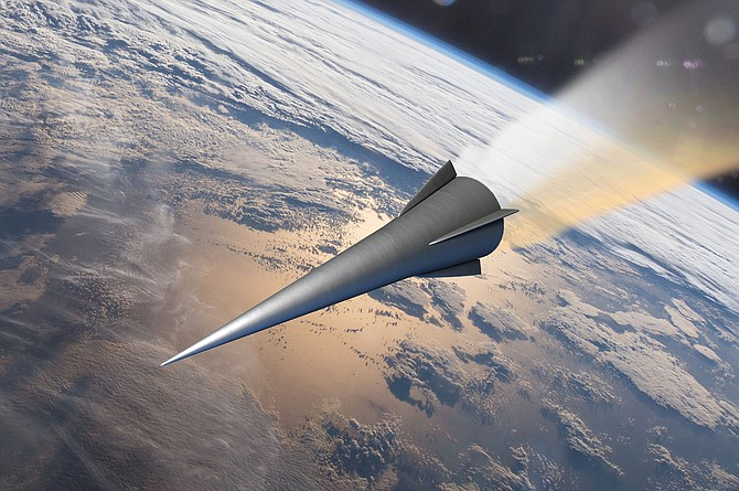A rendering of a hypersonic vehicle. Rendering courtesy of General Atomics.