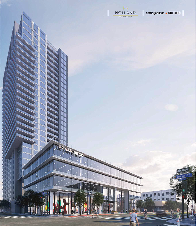 Holland Partner Group's project shares an East Village site with UC San Diego's new downtown compass. Renering courtesy of Civic San Diego.