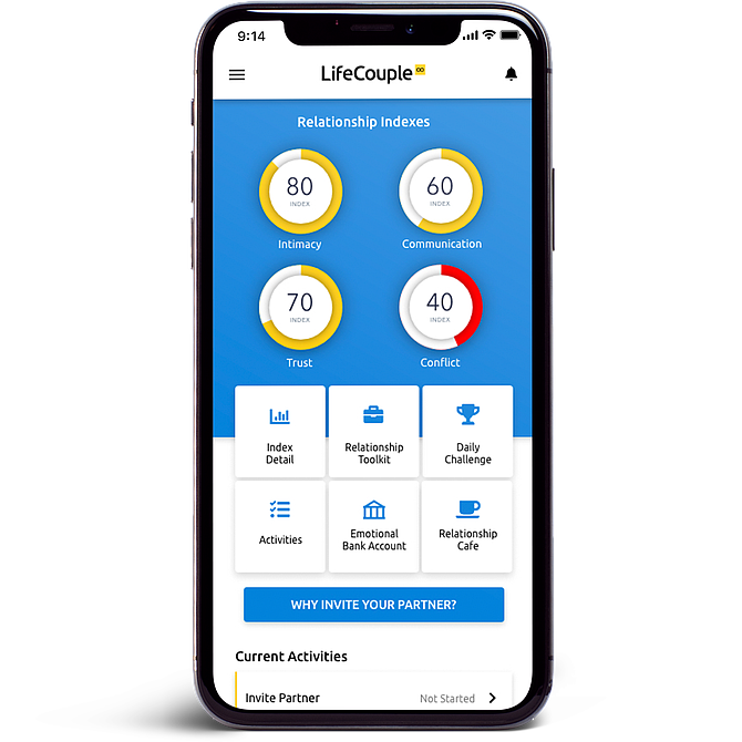 LifeCouple is an app developed by a San Diego entrepreneur to help couples track improvements in their relationship and communication. Photo courtesy of LifeCouple.
