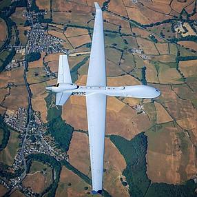 GA-ASI's SkyGaurdian flies over the United Kingdom. Photo courtesy of General Atomics Aeronautical Inc.