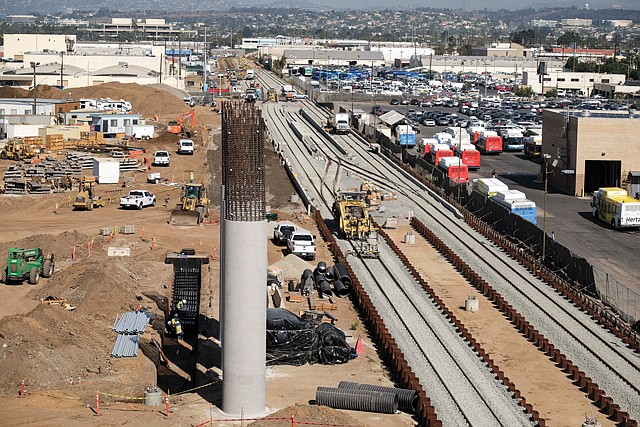 On the Right Track: A Metro train station under construction near LAX.