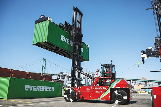 Making the Switch: The Port of LA is using all-electric top handlers to stack cargo.