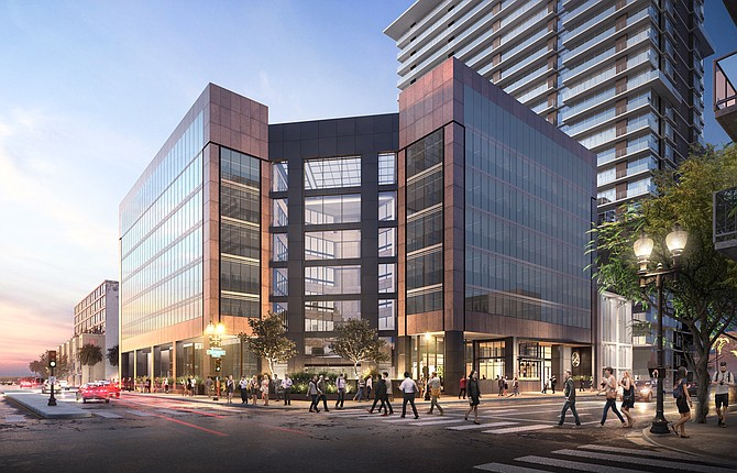 Renovation of the former U.S. Bank building in Little Italy will add needed office space downtown. Rendering courtesy of Cushman & Wakefield.