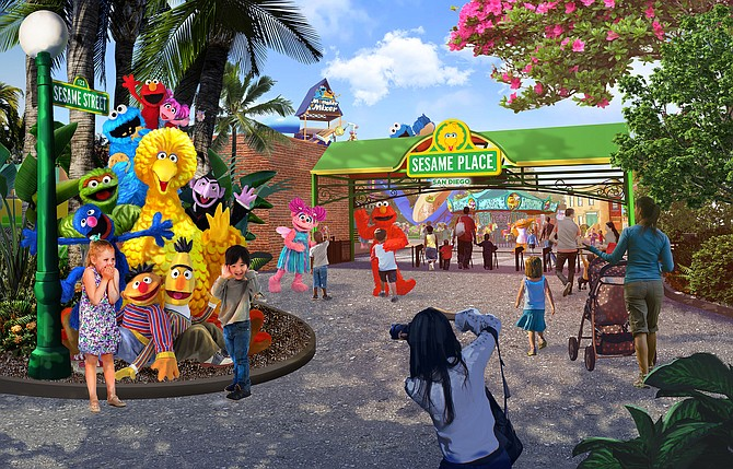 At nearly 17-acres, Sesame Place San Diego will feature family rides, waterslides, live character shows and parades, among other attractions. Rendering courtesy of SeaWorld Parks and Entertainment.