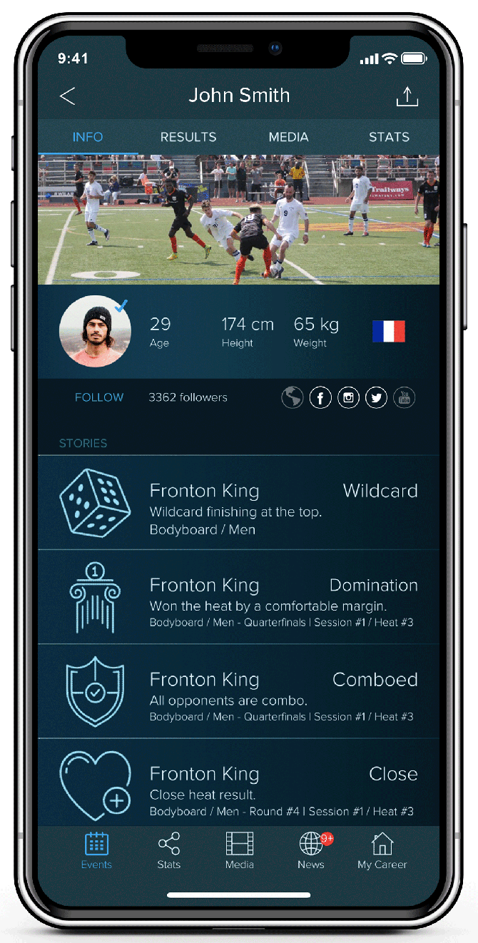 Stact's apps allow fans to keep track of live-scoring for sports matches and follow their favorite athletes. Photo courtesy of Stact.