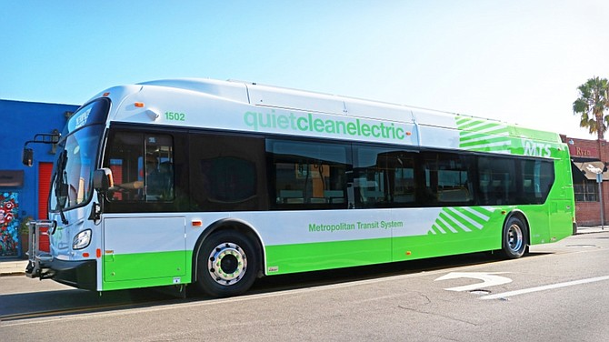 San Diego Metropolitan Transit System has deployed six battery-electric buses as of Nov.4. Photos courtesy of San Diego Metropolitan Transit System.