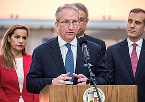 Warning Signs: Port of L.A. head Gene Seroka (center) says the U.S.-China trade war could threaten 1.5 million jobs.
