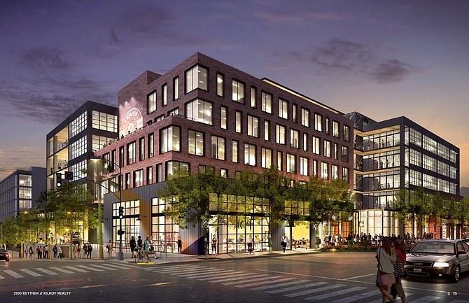 A six-story office building, Kilroy Realty Corp is building, in Little Italy was designed to blend in with the neighborhood. Rendering courtesy of Kilroy Realty Corp.