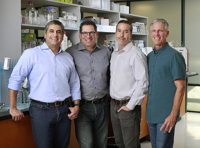 From left to right: Sergio Duron, chief scientific officer of Calporta; Jay Lichter, managing director of Avalon Ventures; Tighe Reardon, chief financial officer of Calporta; and Sanford Madigan, CEO of Calporta. Photo courtesy of Calporta Therapeutics Inc.