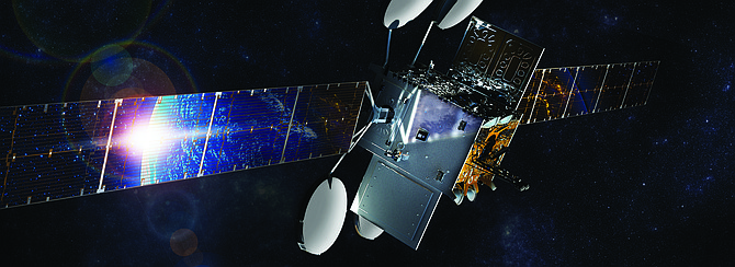 Viasat's Satellite Services caters to consumers, enterprise and mobile broadband markets. Rendering courtesy of Viasat Inc.