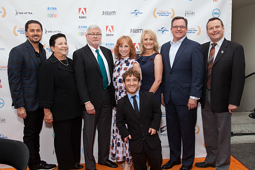 Easterseals Southern California board members and staff at the 2019 Easterseals Disability Film Challenge Awards. From left: Andre Filip, Marilyn Lindheim, Mike Murtaugh, Nic Novicki, Nancy Weintraub, Molly Pyott, Mark Bertrand and Mark Whitley.