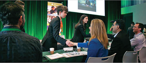 Volunteer Business Pitch Judges, Brent Bushnell (Two Bit Circus), Jen Duddy (Google), Mark Borao (PWC) and Joel Poehlmann (Snapchat), shake hands with student contestants during the 2019 JA Student Entrepreneurship Challenge (JASEC), hosted at Google.
