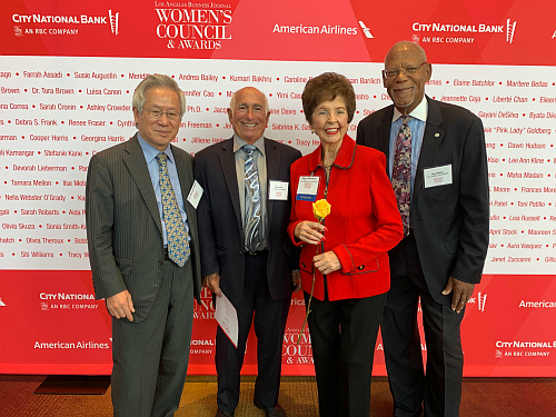 """L to R: Dr. Kisoon Park, Warren Finn, Alyce Morris Winston, Ben Blakley Founder Alyce Morris Winston was honored with a """"Trailblazer Award"""" at the LA Business Journal's Women's Council and Awards Luncheon on June 20, 2019."""