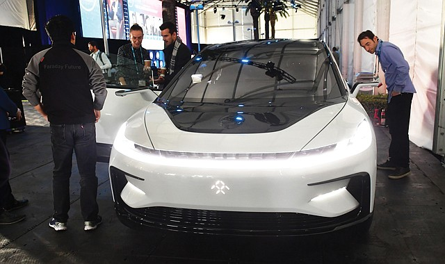 Electric Feel: Attendees at AutoMobility LA get an up-close look at Faraday Future's FF 91.